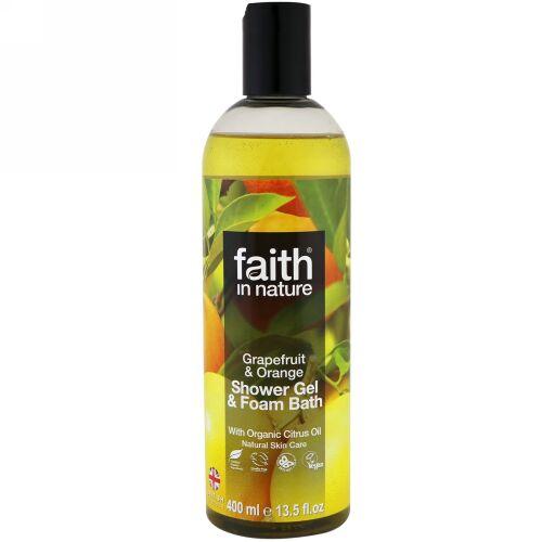 Faith in Nature, Shower Gel & Foam Bath, Grapefruit & Orange, 13.5 fl oz (400 ml) (Discontinued Item)