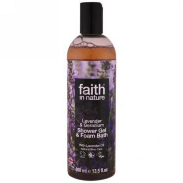 Faith in Nature, シャワージェル&バスフォーム、ラベンダー&ゼラニウム、13.5液体オンス(400 ml) (Discontinued Item)