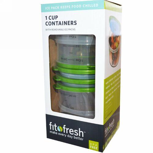 Fit & Fresh, 1 カップ 冷蔵容器、 4 パック (Discontinued Item)
