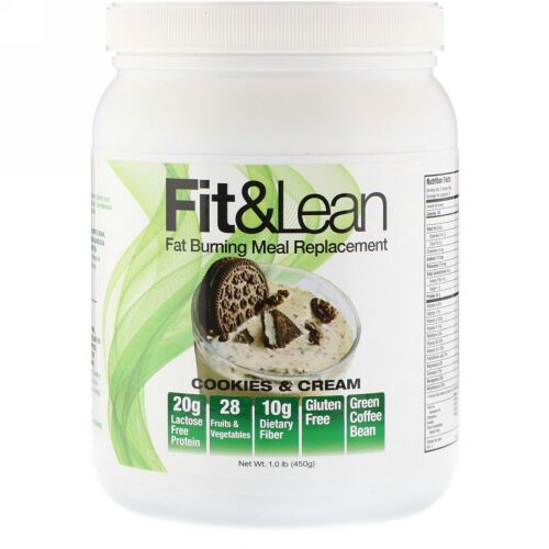 Fit & Lean, 脂肪燃焼食事代換品、クッキー&クリーム、1.0 lb (450 g) (Discontinued Item)