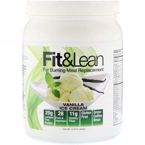 Fit & Lean, Fit & Lean, Fat Burning Meal Replacement, Vanilla Ice Cream, 0.97 lb (440 g) (Discontinued Item)