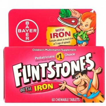 Flintstones, 子供用マルチビタミン サプリメント 鉄入り, フルーツ味, チュアブル錠 60錠
