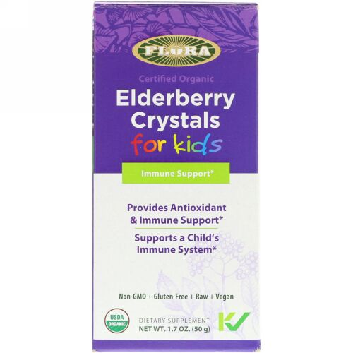 Flora, Certified Organic, Elderberry Crystals for Kids, 1.7 oz (50 g) (Discontinued Item)