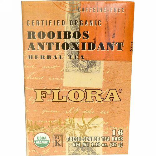 Flora, Certified Organic, Rooibos Antioxidant Herbal Tea, Caffeine-Free, 16 Tea Bags, 1.13 oz (32 g) (Discontinued Item)