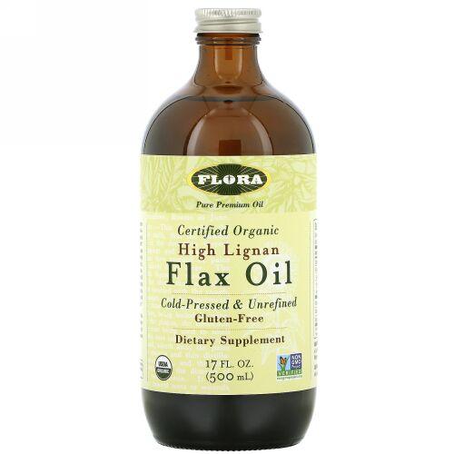 Flora, Certified Organic High Lignan Flax Oil, 17 fl oz (500 ml)