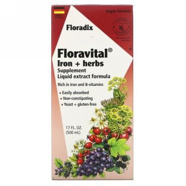 Flora, フローラディクス、フローラヴィタル、鉄+ハーブサプリメント、液体エキスフォーミュラ、17液量オンス(500ml)