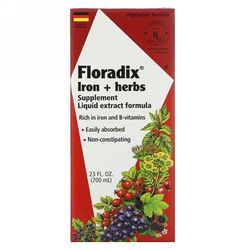 Flora, Floradix®、鉄分 + ハーブ・サプリメント、液体エキス・フォーミュラ、23液量オンス(700 ml)