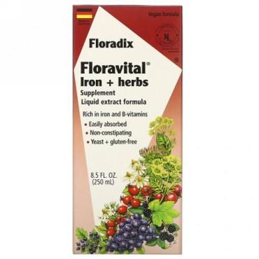Flora, サルース、フローラディクス、フローラヴィタルアイロン+ハーブサプリメント、液体エキスフォーミュラ、8.5 fl oz (250 ml)