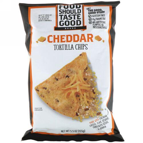 Food Should Taste Good, All Natural トルティーヤチップス, チェダー, 5.5 oz (156 g) (Discontinued Item)