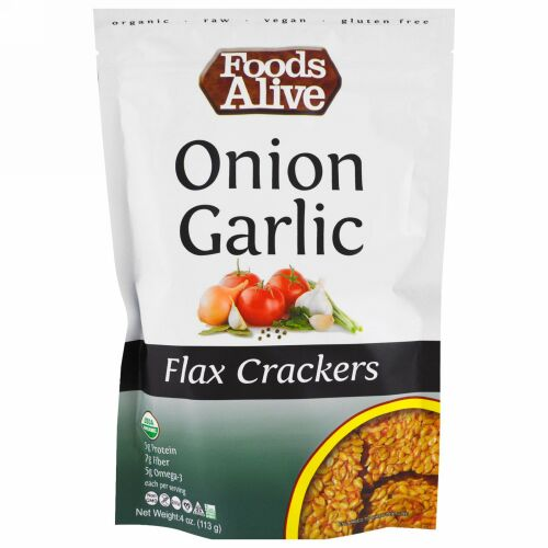 Foods Alive, Flax Crackers、Onion Garlic、4 oz (113 g) (Discontinued Item)