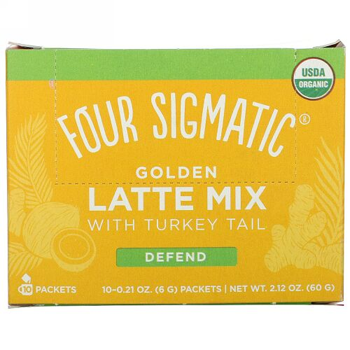 Four Sigmatic, Golden Latte Mix with Turkey Tail, 10 Packets, 0.21 oz (6 g) Each