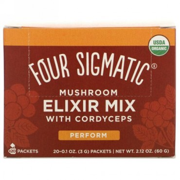 Four Sigmatic, Mushroom Elixir Mix with Cordyceps, 20 Packets, 0.1 oz (3 g) Each