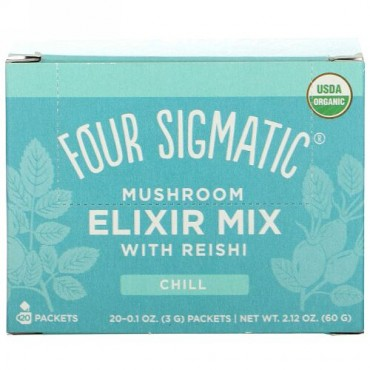Four Sigmatic, Mushroom Elixir Mix with Reishi, 20 Packets, 0.1 oz (3 g) Each