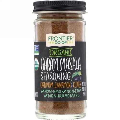 Frontier Natural Products, Organic Garam Masala Seasoning with Cardamon, Cinnamon & Cloves, 2.00 oz (56 g) (Discontinued Item)