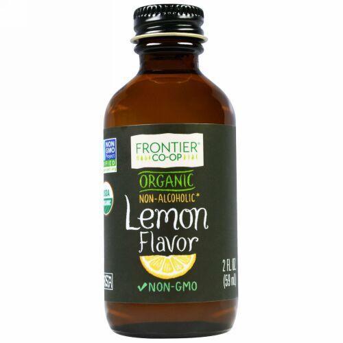 Frontier Natural Products, オーガニック レモン フレーバー アルコール不使用, 2 オンス (59 ml) (Discontinued Item)
