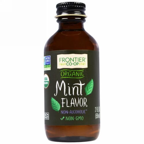 Frontier Natural Products, オーガニック ミント フレーバー アルコール不使用, 2 オンス (59 ml) (Discontinued Item)