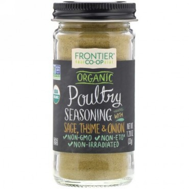 Frontier Natural Products, Organic Poultry Seasoning With Sage, Thyme & Onion, 1.20 oz (33 g) (Discontinued Item)