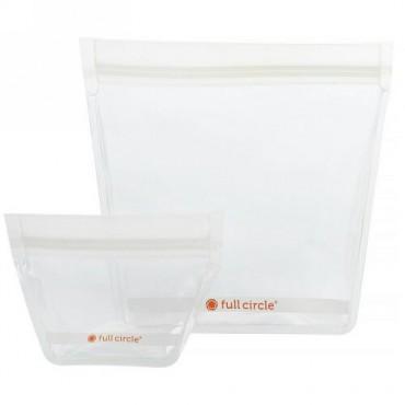 Full Circle, ジップタック、再利用可能トラベルバッグ、クリア、ミニ1個 + トラベル1個