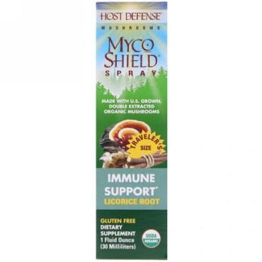 Fungi Perfecti, オーガニックマイコシールドスプレー 免疫サポート リコリスルート 1液量オンス(30 ml)
