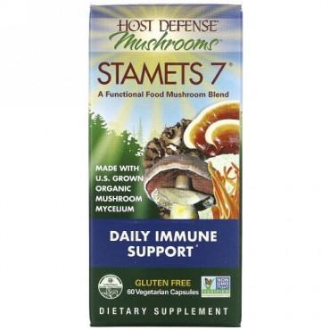 Fungi Perfecti, スタメッツ7、毎日の免疫サポート、植物性カプセル60粒