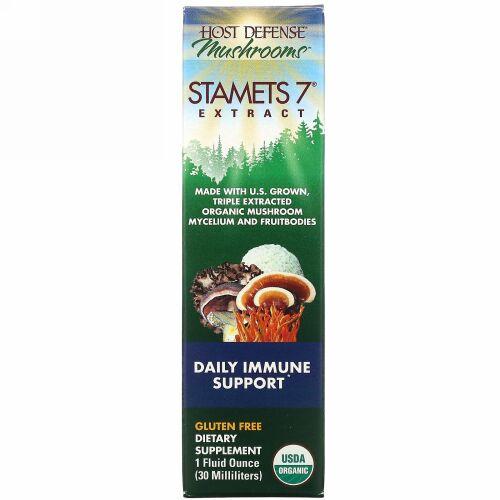 Fungi Perfecti, Stamets 7 エキス、毎日の免疫サポート、 1液量オンス(30 ml)