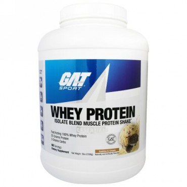 GAT, ホエイタンパク質・アイソレート・ブレンドマッスル・プロテインシェイク、クッキー&クリーム、5 ポンド(2268 g) (Discontinued Item)