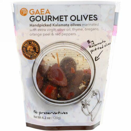 Gaea, グルメオリーブ、種なしカラマタオリーブのマリネ、4.2 oz (120 g)