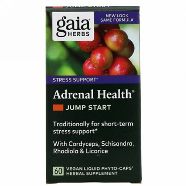 Gaia Herbs, 副腎の健康、即効性のあるエネルギー源、Phyto-Caps(フィトキャップ)液状植物性カプセル60粒