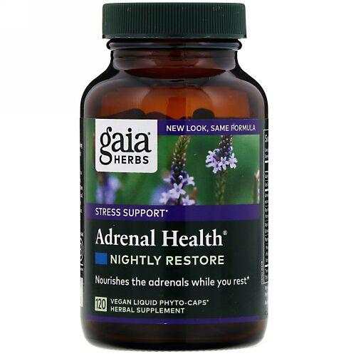 Gaia Herbs, アドレナルヘルス、 ナイトly リストア、 120 ヴィーガン液体フィトカプセル