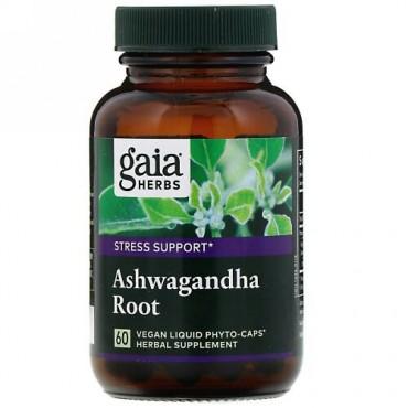 Gaia Herbs, アシュワガンダの根、ビーガンリキッドフィトカプセル60粒