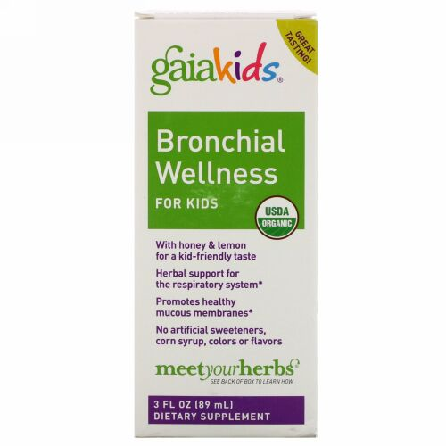Gaia Herbs, Bronchial Wellness for Kids, 3 fl oz (89 ml)