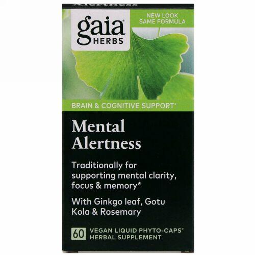 Gaia Herbs, DailyWellness、メンタル・アラートネス、 Vegetarian Liquid Phyto-Caps(菜食主義液体植物性カプセル)、60錠