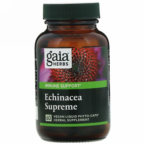 Gaia Herbs, エキナセアスプリーム、ビーガンLiquid Phyto-Caps(液体フィトキャップ)60錠