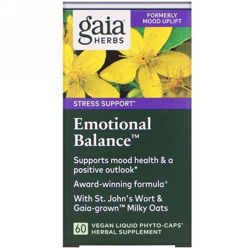 Gaia Herbs, Emotional Balance(エモーショナルバランス)、ビーガン液体フィトカプセル60粒 (Discontinued Item)