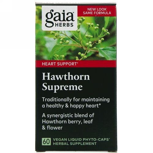 Gaia Herbs, Hawthorn Supreme(ホーソーンスプリーム)、ビーガンリキッドフィトカプセル60粒