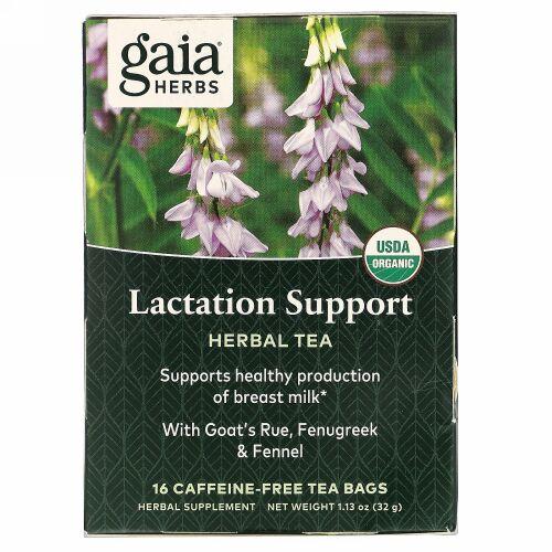 Gaia Herbs, ハーブティー、授乳サポート、カフェインフリー、ティーバッグ16個、32g(1.13オンス)