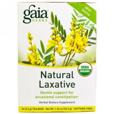 Gaia Herbs, ナチュラルラクサティブ、 カフェインレス、 16ティーバッグ、 1.24 oz (35.2 g)