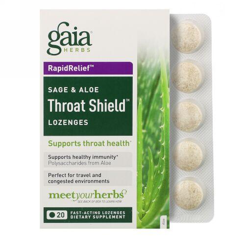 Gaia Herbs, Throat Shield トローチ、セージ & アロエ、即効性のあるトローチ20 錠