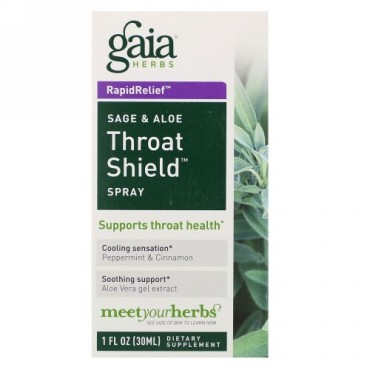 Gaia Herbs, Throat Shield スプレー、セージ& アロエ、30 ml