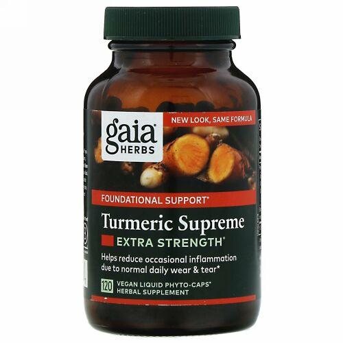 Gaia Herbs, ターメリックスプリーム、エキストラストレングス、ビーガンLiquid Phyto-Caps(液体フィトキャップ)120粒
