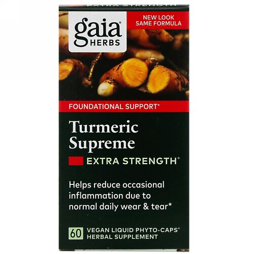 Gaia Herbs, ターメリックスプリーム、エキストラストレングス、ビーガンLiquid Phyto-Caps(液体フィトキャップ)60錠