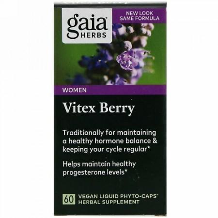 Gaia Herbs, バイテックスベリー、ビーガンLiquid Phyto-Caps(液体フィトキャップ)60粒