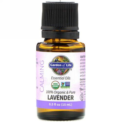 Garden of Life, 100% Organic & Pure, Essential Oils, Calming, Lavender, 0.5 fl oz (15 ml)