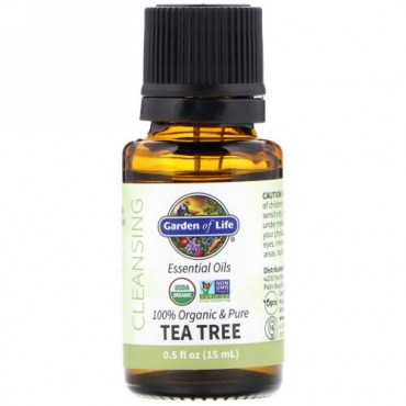 Garden of Life, 100% Organic & Pure, Essential Oils, Cleansing, Tea Tree, 0.5 fl oz (15 ml)