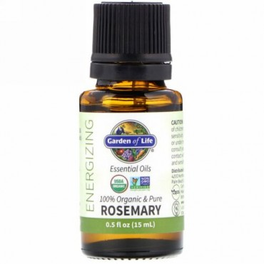 Garden of Life, 100% Organic & Pure, Essential Oils, Energizing, Rosemary, 0.5 fl oz (15 ml) (Discontinued Item)
