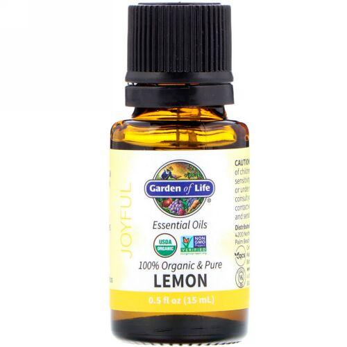 Garden of Life, 100% Organic & Pure, Essential Oils, Joyful, Lemon, 0.5 fl oz (15 ml) (Discontinued Item)