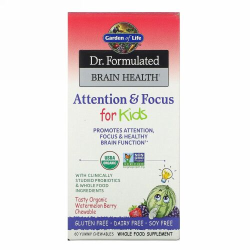 Garden of Life, Dr. Formulated Brain Health, Attention & Focus for Kids, Watermelon Berry, 60 Yummy Chewables