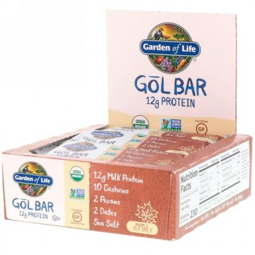 Garden of Life, GOL Bars, Maple Sea Salt, 12 Bars, 2.11 oz (60 g) Each (Discontinued Item)