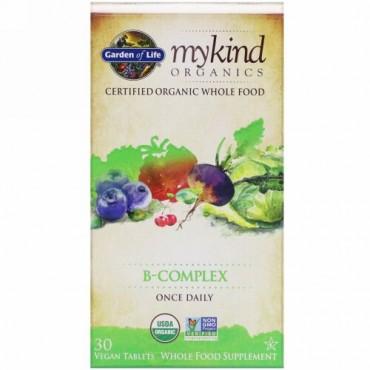 Garden of Life, マイカインドオーガニクス、ビタミンBコンプレックス、植物性タブレット30粒