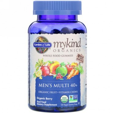 Garden of Life, MyKind Organics, Men's Multi 40+, Organic Berry, 120 Vegan Gummy Drops
